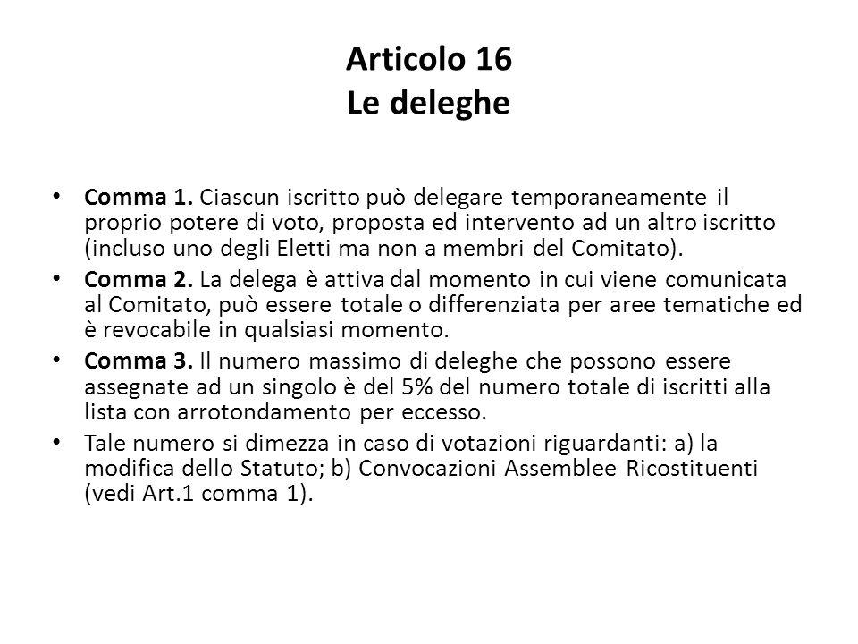 Articolo 16 Le deleghe