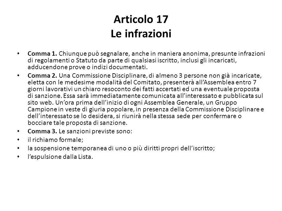 Articolo 17 Le infrazioni