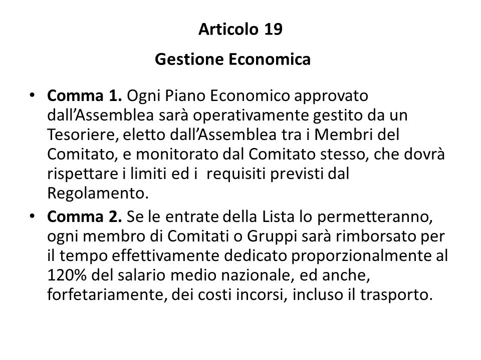 Articolo 19 Gestione Economica