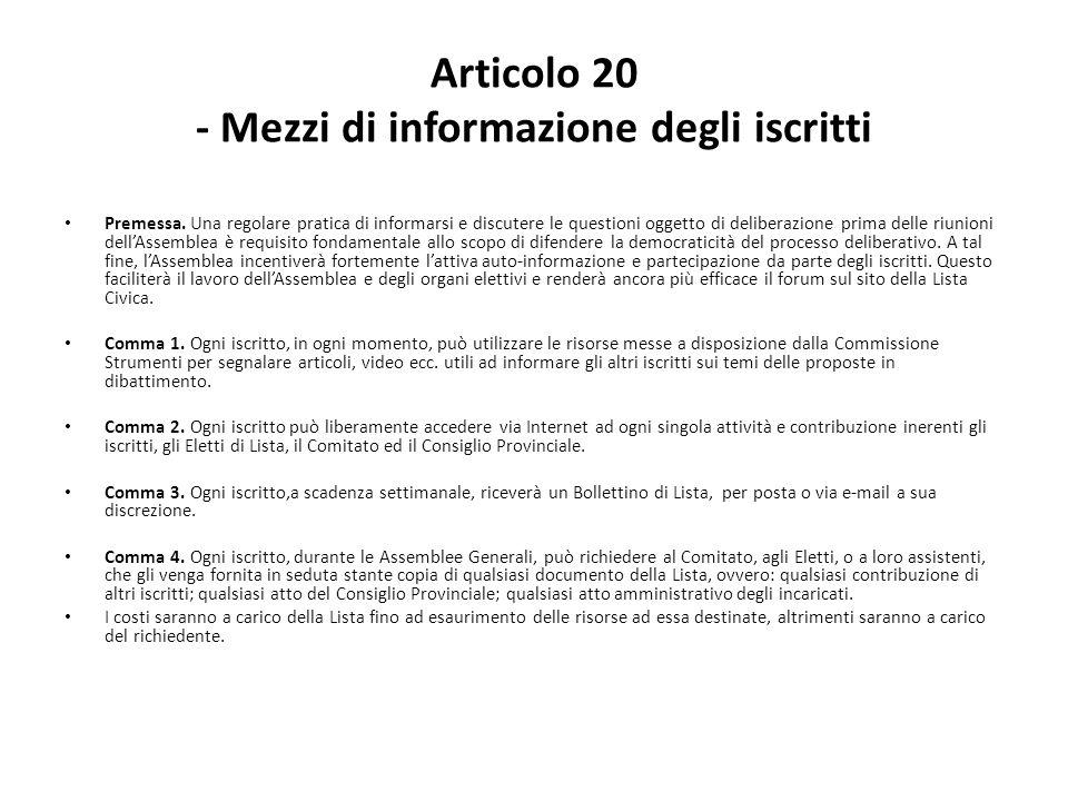 Articolo 20 - Mezzi di informazione degli iscritti