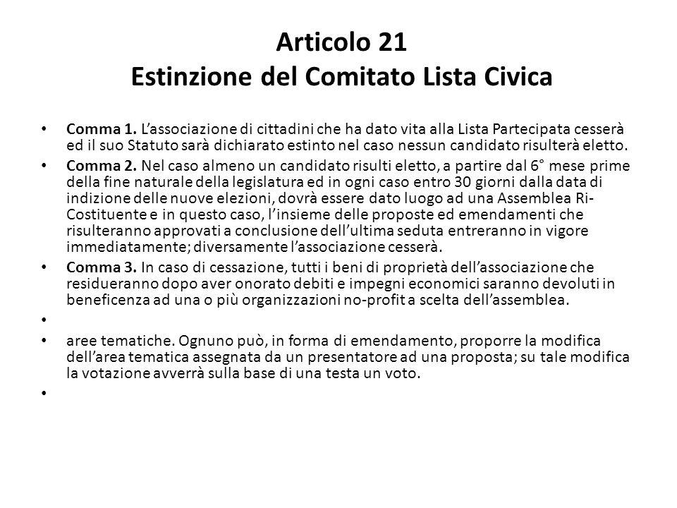 Articolo 21 Estinzione del Comitato Lista Civica