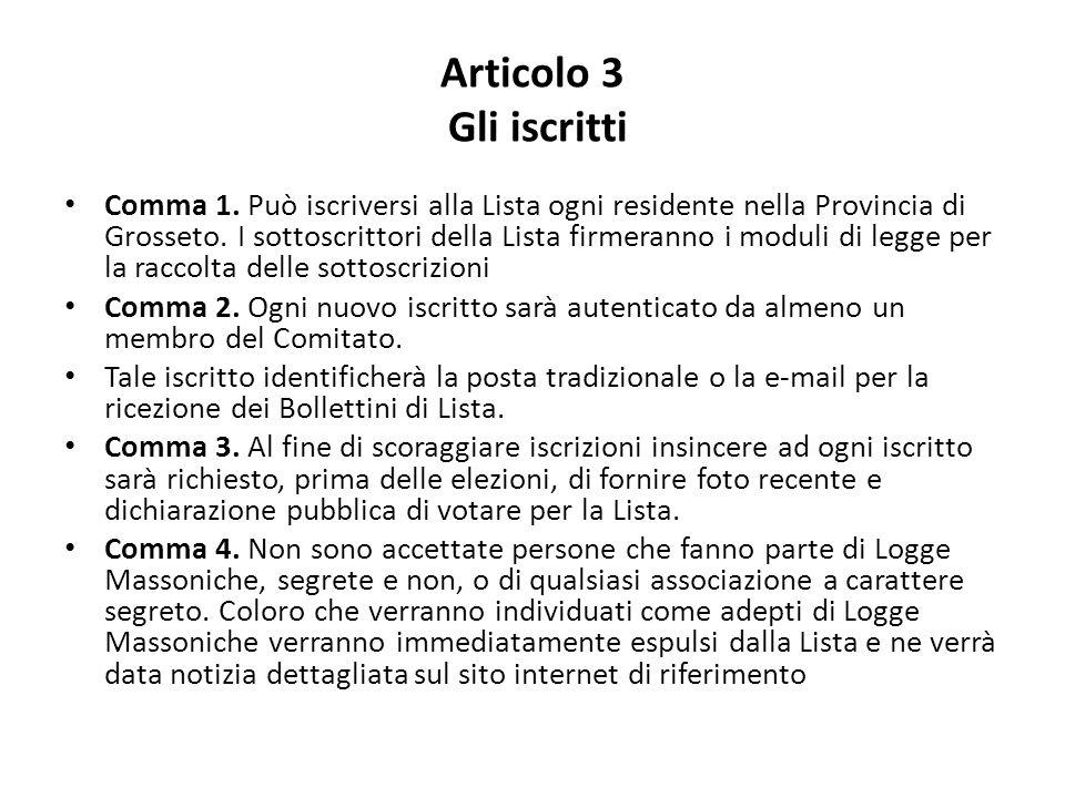 Articolo 3 Gli iscritti