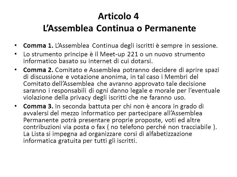 Articolo 4 L'Assemblea Continua o Permanente