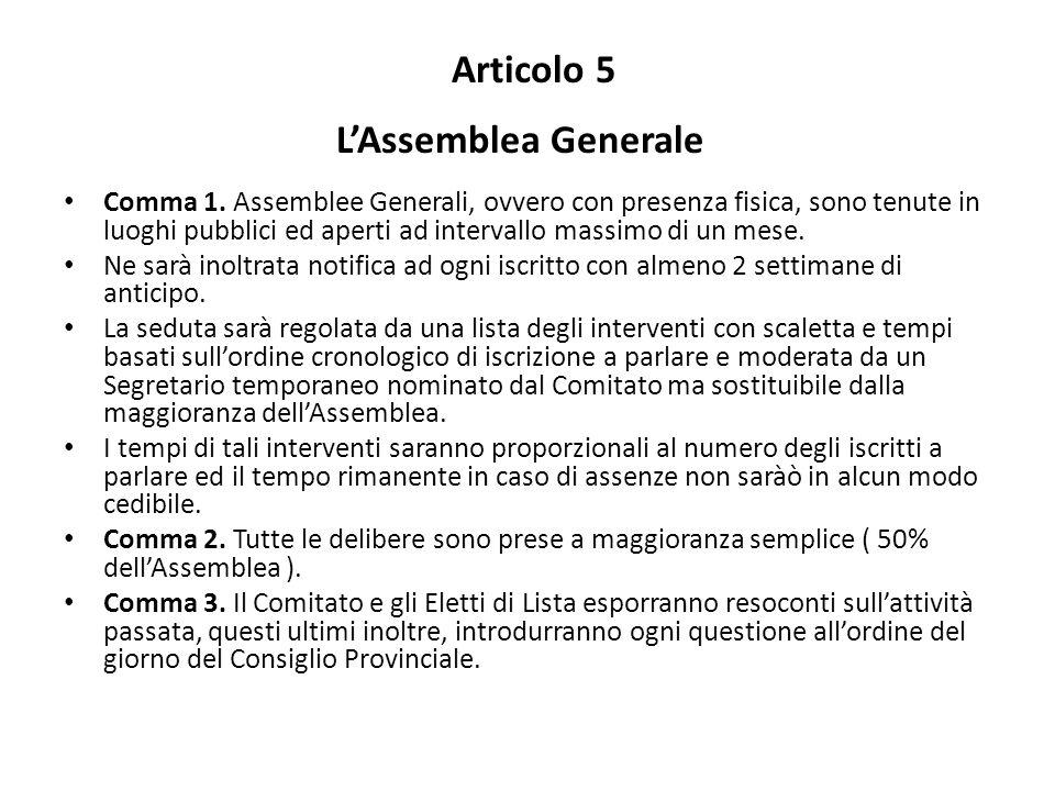 Articolo 5 L'Assemblea Generale