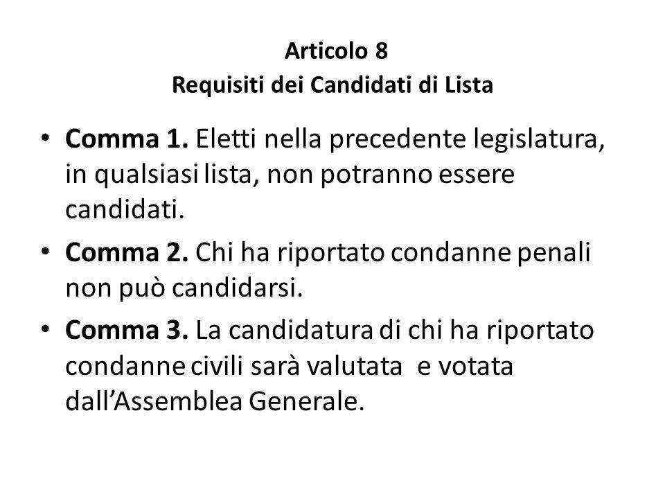 Articolo 8 Requisiti dei Candidati di Lista