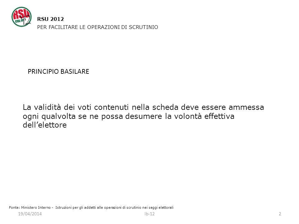 RSU 2012 PER FACILITARE LE OPERAZIONI DI SCRUTINIO. PRINCIPIO BASILARE.