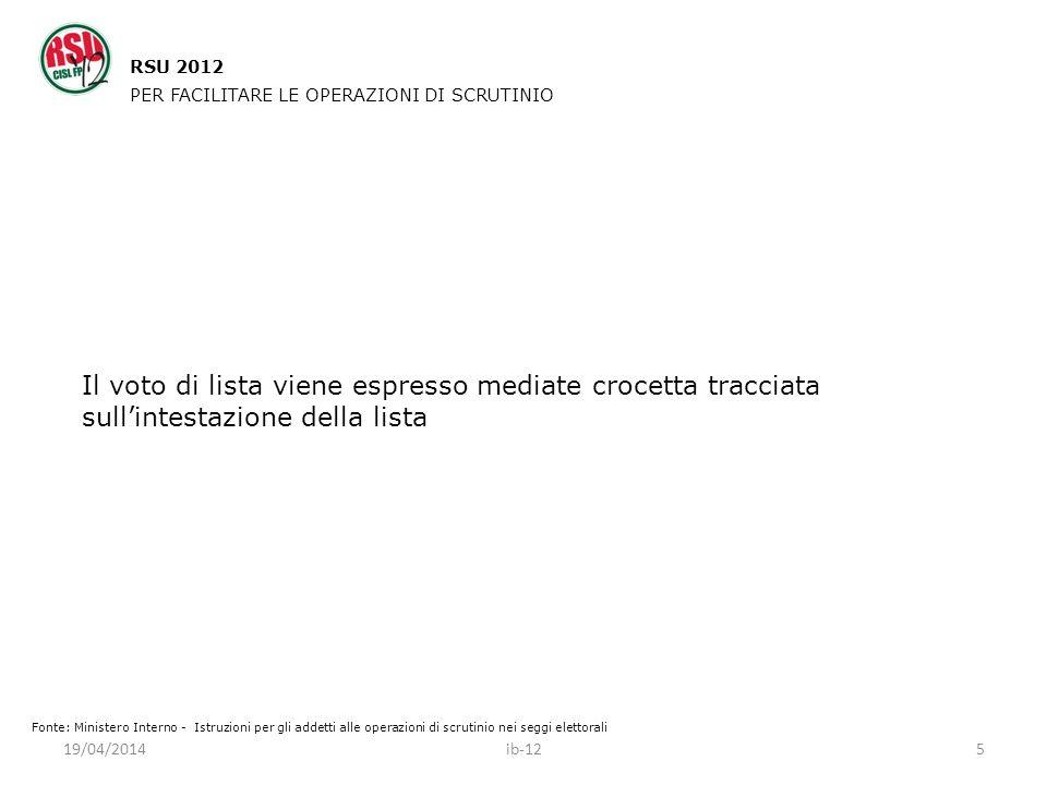 RSU 2012 PER FACILITARE LE OPERAZIONI DI SCRUTINIO. Il voto di lista viene espresso mediate crocetta tracciata sull'intestazione della lista.