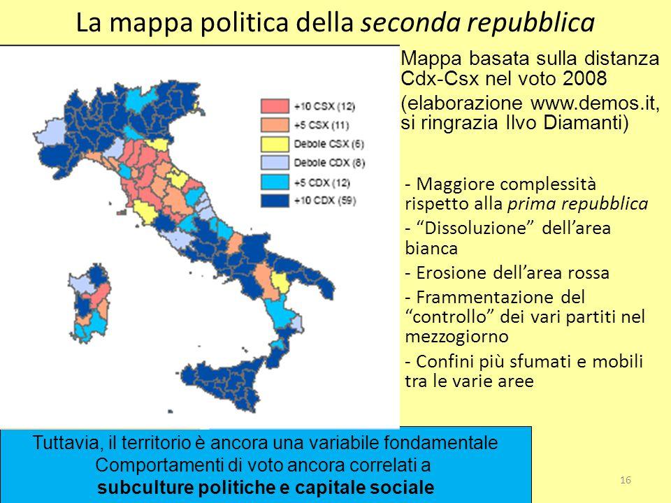 La mappa politica della seconda repubblica