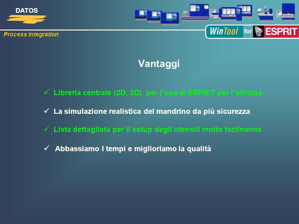 Vantaggi  Libreria centrale (2D, 3D) per l'uso di ESPRIT per l'officina.  La simulazione realistica del mandrino da più sicurezza.