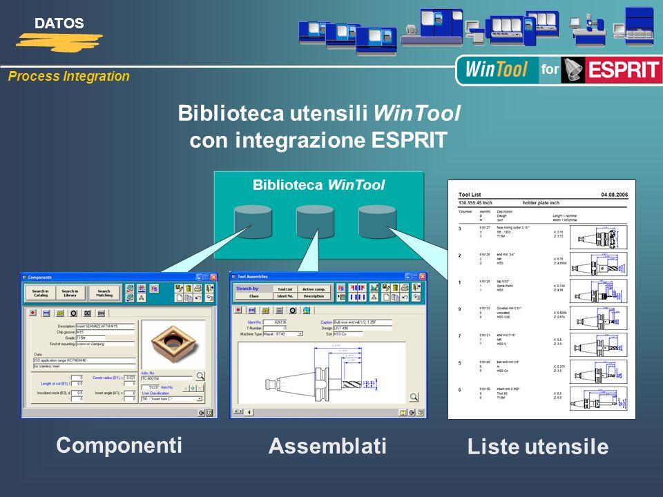 Biblioteca utensili WinTool con integrazione ESPRIT