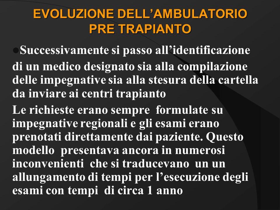 EVOLUZIONE DELL'AMBULATORIO PRE TRAPIANTO