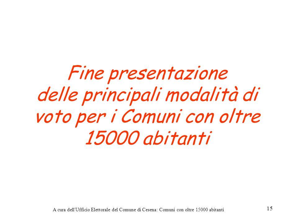 Fine presentazione delle principali modalità di voto per i Comuni con oltre 15000 abitanti