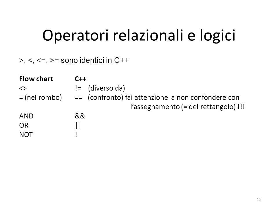 Operatori relazionali e logici