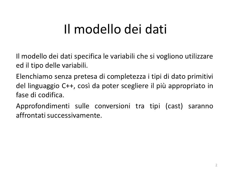 Il modello dei dati Il modello dei dati specifica le variabili che si vogliono utilizzare ed il tipo delle variabili.