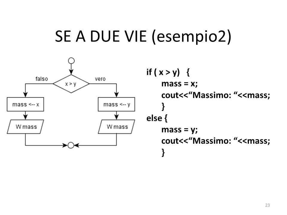 SE A DUE VIE (esempio2) if ( x > y) { mass = x;