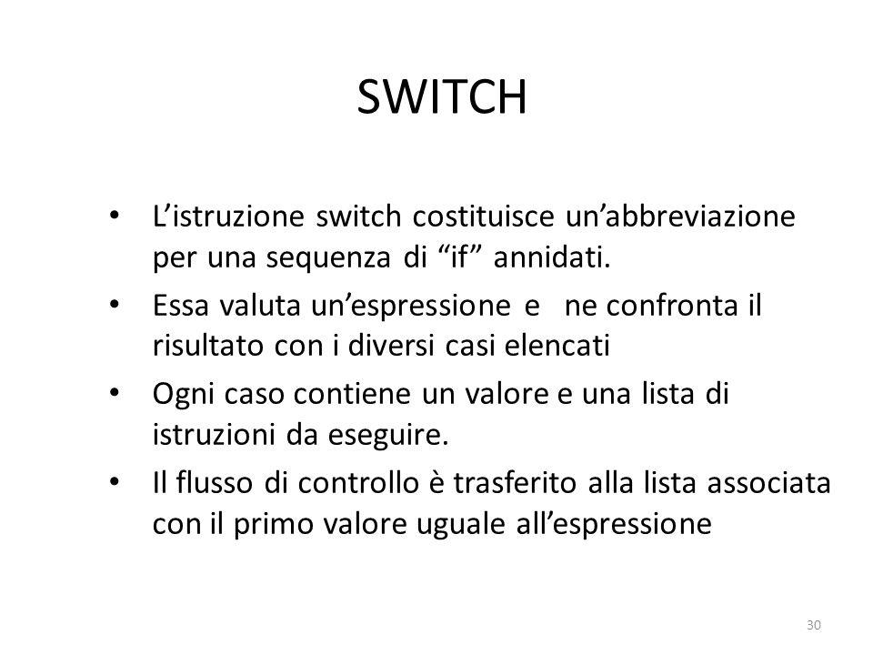 SWITCH L'istruzione switch costituisce un'abbreviazione per una sequenza di if annidati.