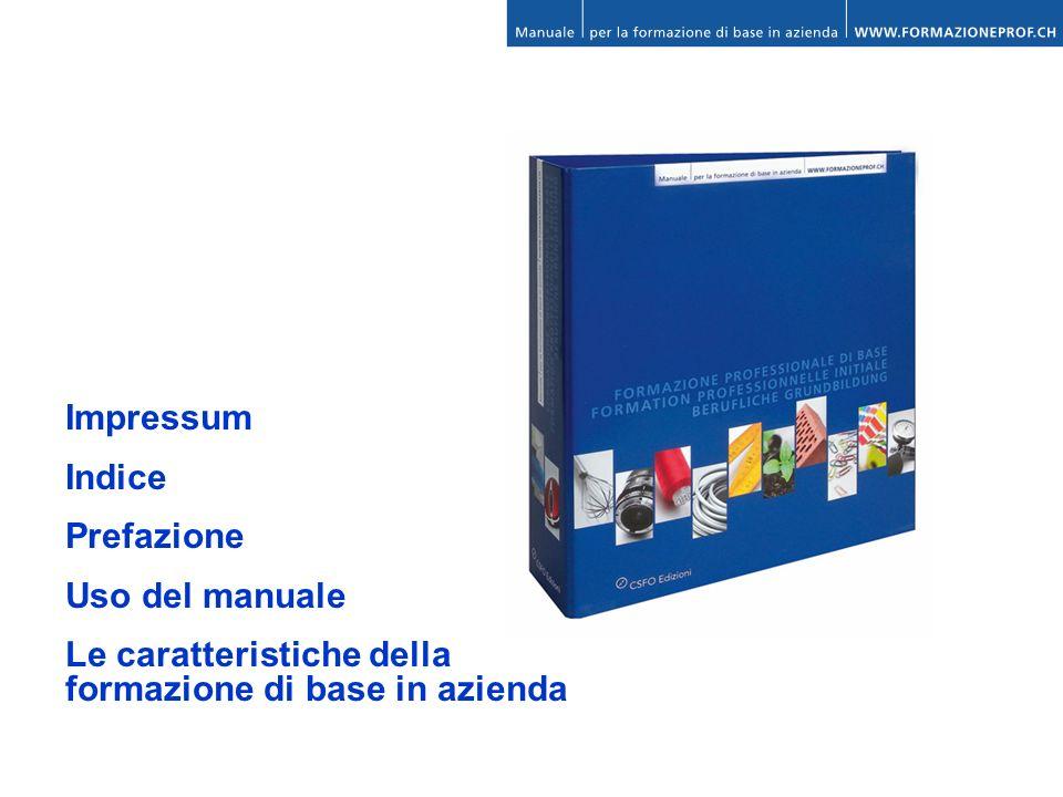 Impressum Indice Prefazione Uso del manuale Le caratteristiche della formazione di base in azienda
