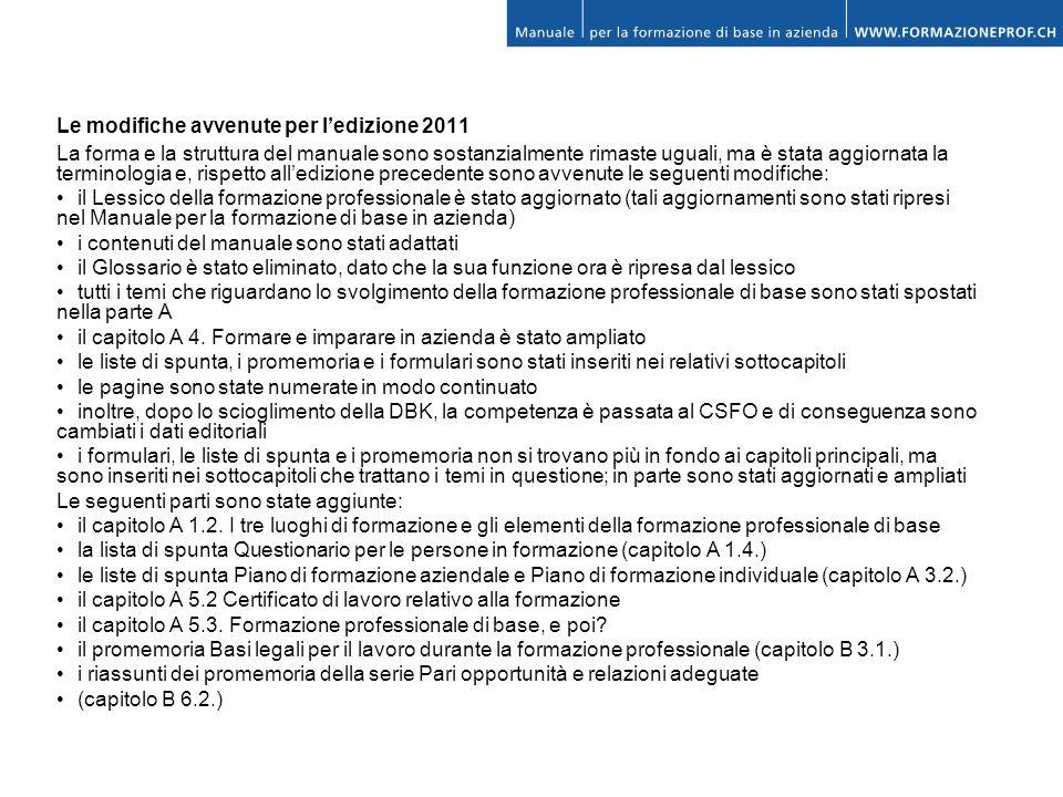 Le modifiche avvenute per l'edizione 2011