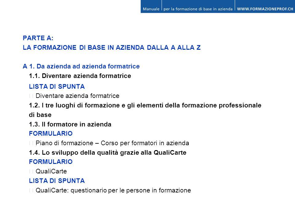 PARTE A: LA FORMAZIONE DI BASE IN AZIENDA DALLA A ALLA Z. A 1. Da azienda ad azienda formatrice. 1.1. Diventare azienda formatrice.