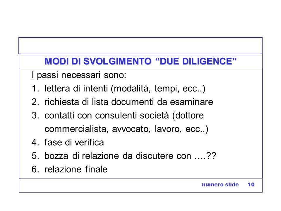 MODI DI SVOLGIMENTO DUE DILIGENCE