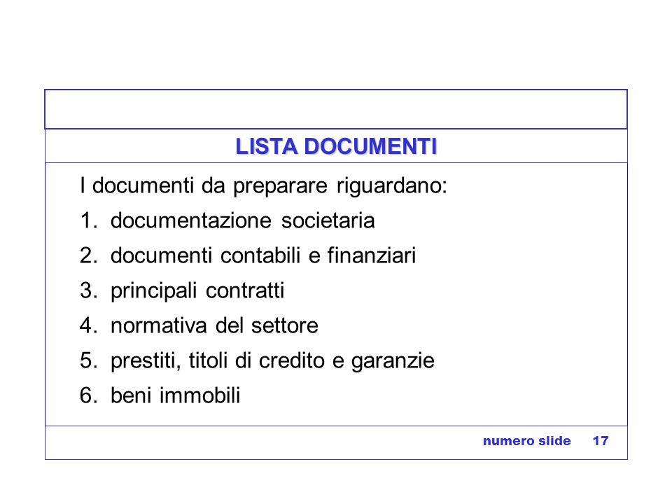 I documenti da preparare riguardano: 1. documentazione societaria