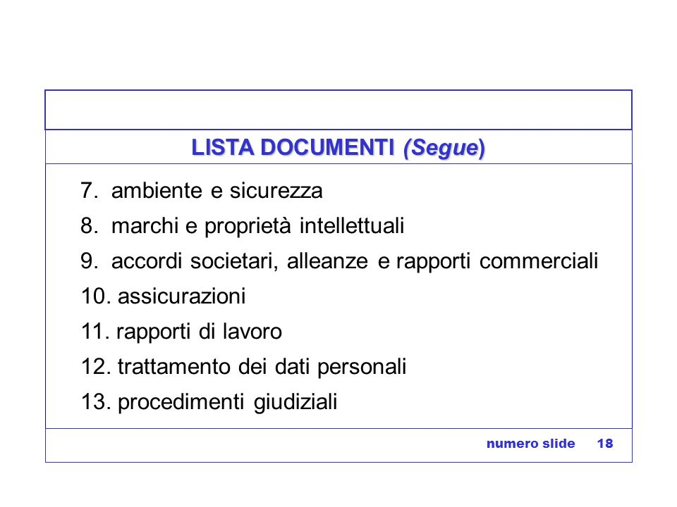LISTA DOCUMENTI (Segue)