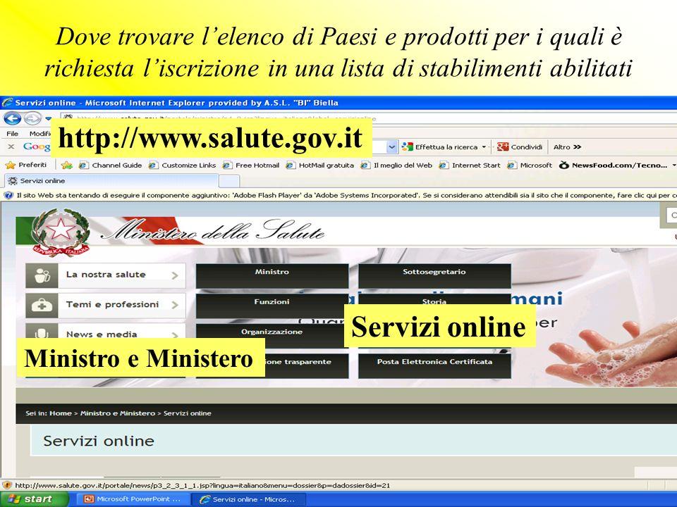http://www.salute.gov.it Servizi online