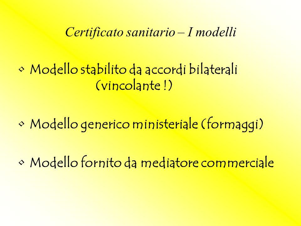 Certificato sanitario – I modelli