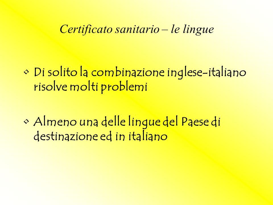 Certificato sanitario – le lingue