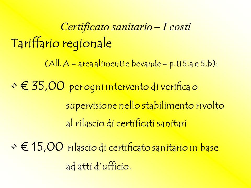 Certificato sanitario – I costi