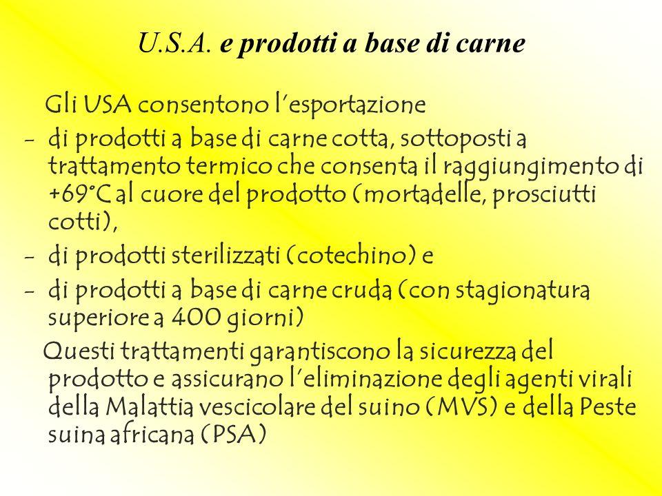 U.S.A. e prodotti a base di carne