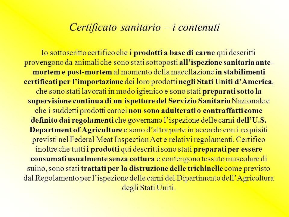 Certificato sanitario – i contenuti