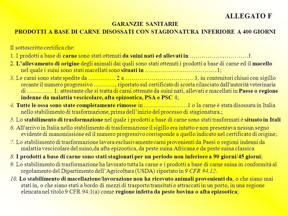 ALLEGATO F GARANZIE SANITARIE