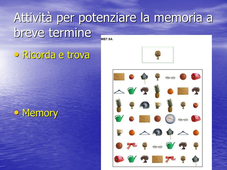 Attività per potenziare la memoria a breve termine