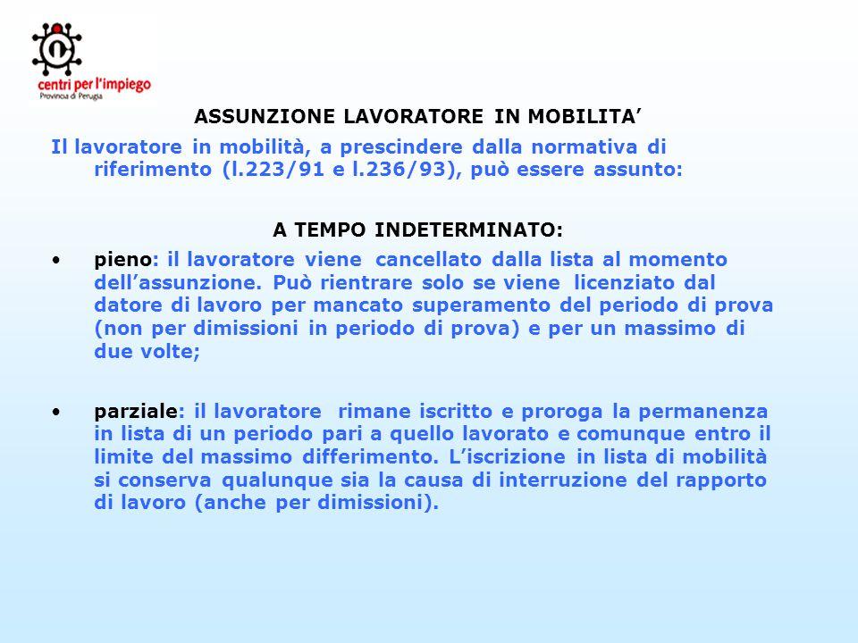 ASSUNZIONE LAVORATORE IN MOBILITA' A TEMPO INDETERMINATO: