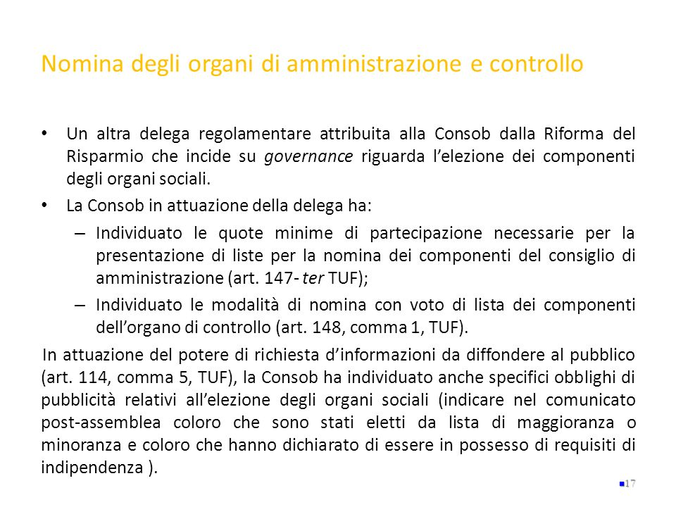 Nomina degli organi di amministrazione e controllo