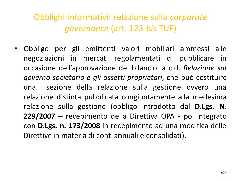 Obblighi informativi: relazione sulla corporate governance (art