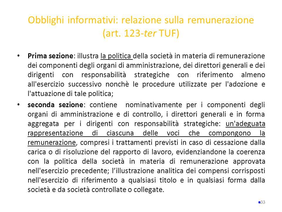 Obblighi informativi: relazione sulla remunerazione (art. 123-ter TUF)