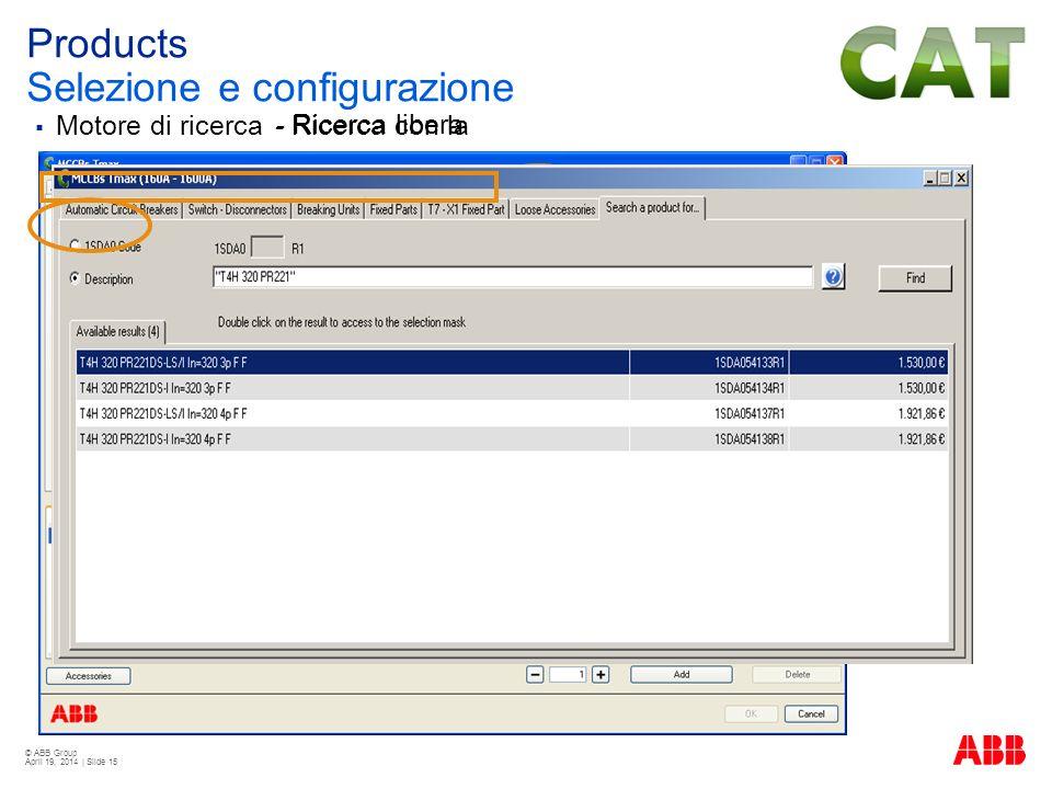 Products Selezione e configurazione