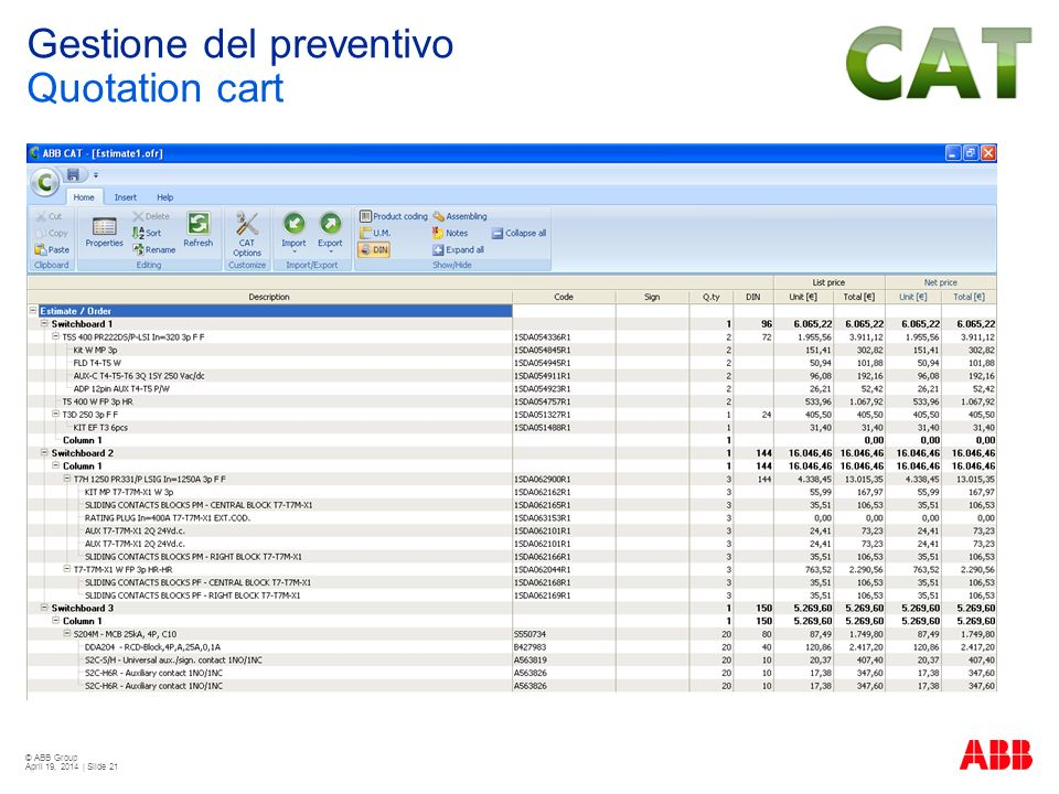 Gestione del preventivo Quotation cart