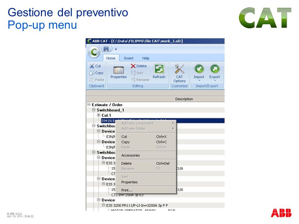 Gestione del preventivo Pop-up menu