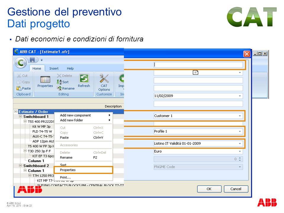 Gestione del preventivo Dati progetto