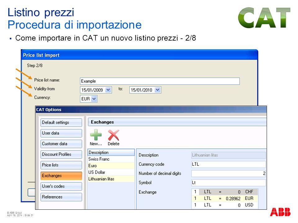 Listino prezzi Procedura di importazione