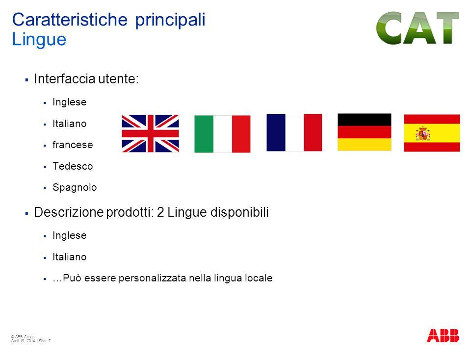 Caratteristiche principali Lingue
