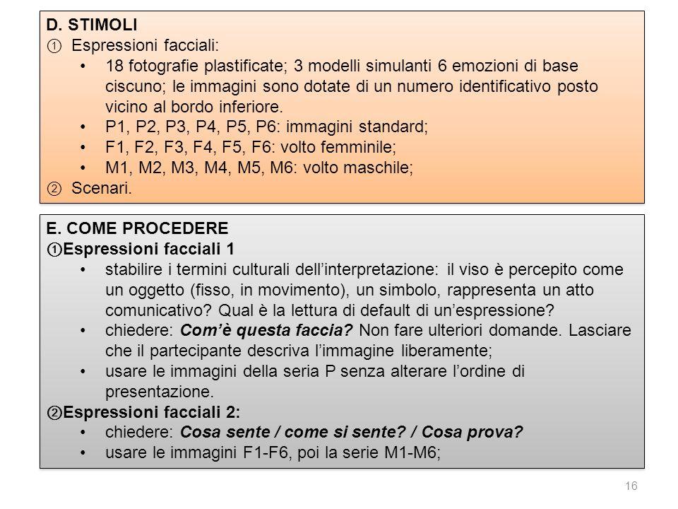 D. STIMOLI Espressioni facciali: