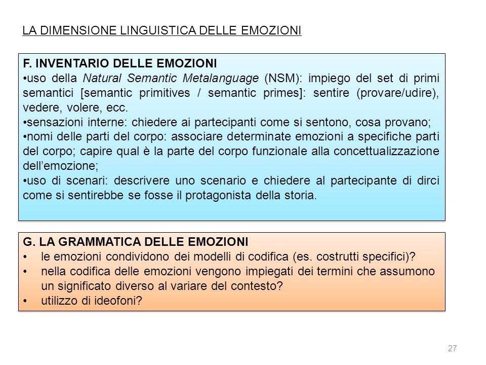LA DIMENSIONE LINGUISTICA DELLE EMOZIONI