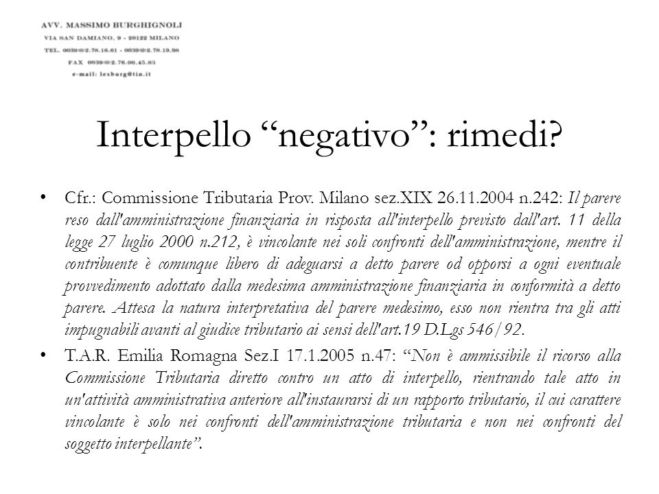Interpello negativo : rimedi