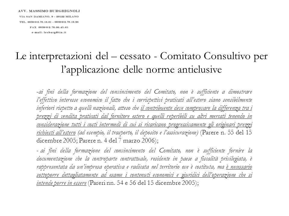 Le interpretazioni del – cessato - Comitato Consultivo per l'applicazione delle norme antielusive