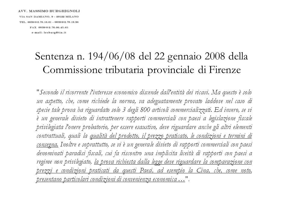 Sentenza n. 194/06/08 del 22 gennaio 2008 della Commissione tributaria provinciale di Firenze