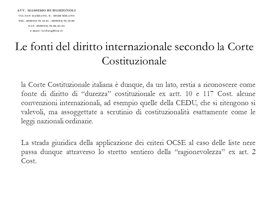 Le fonti del diritto internazionale secondo la Corte Costituzionale